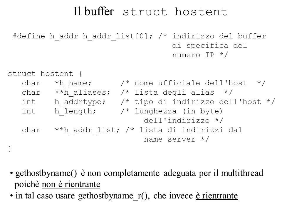 Il buffer struct hostent