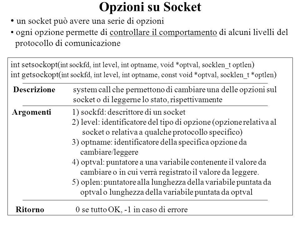 Opzioni su Socket un socket può avere una serie di opzioni