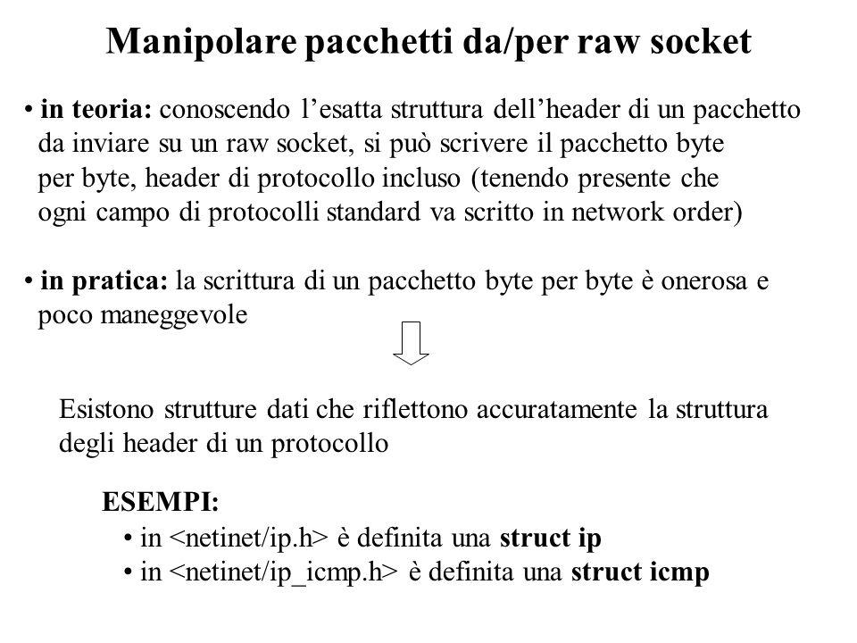 Manipolare pacchetti da/per raw socket