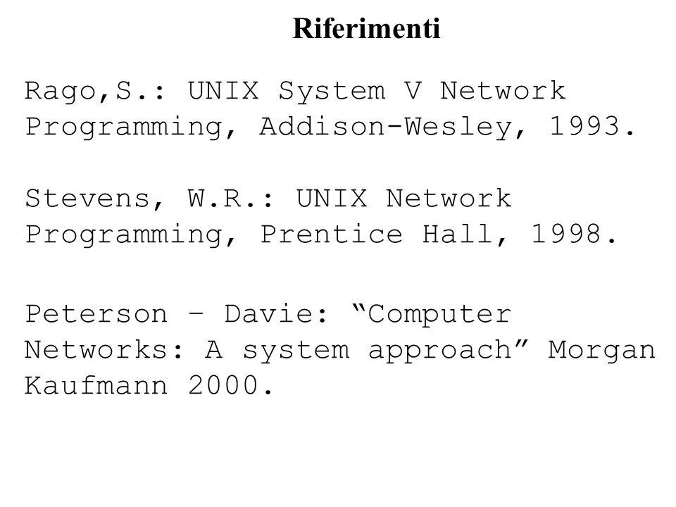 Riferimenti Rago,S.: UNIX System V Network Programming, Addison-Wesley, 1993. Stevens, W.R.: UNIX Network Programming, Prentice Hall, 1998.