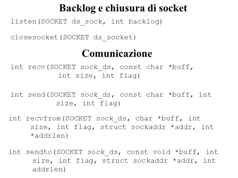 Backlog e chiusura di socket