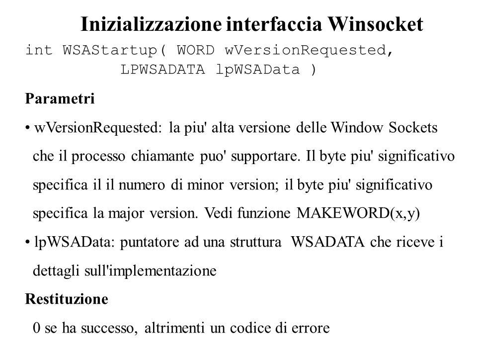 Inizializzazione interfaccia Winsocket