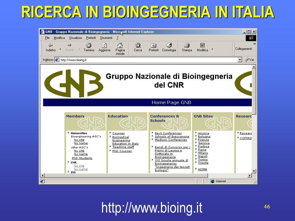 RICERCA IN BIOINGEGNERIA IN ITALIA