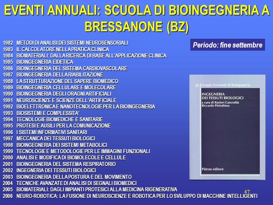 EVENTI ANNUALI: SCUOLA DI BIOINGEGNERIA A BRESSANONE (BZ)