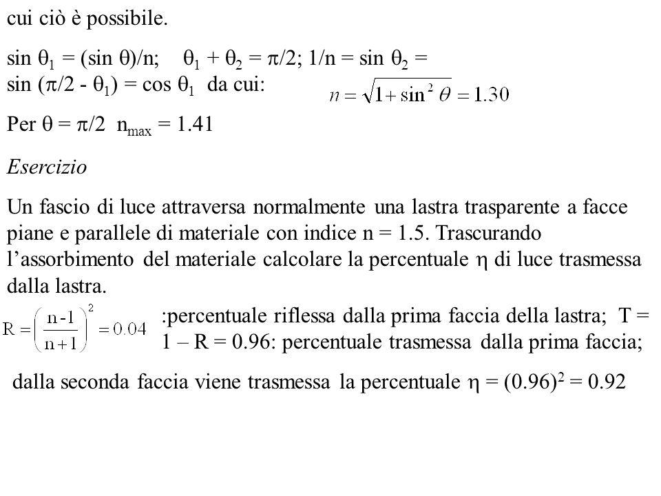 cui ciò è possibile. sin 1 = (sin )/n; 1 + 2 = /2; 1/n = sin 2 = sin (/2 - 1) = cos 1 da cui: