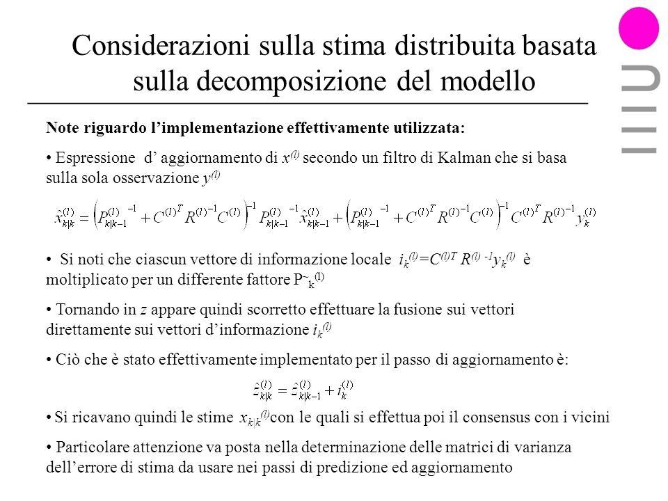 Considerazioni sulla stima distribuita basata sulla decomposizione del modello