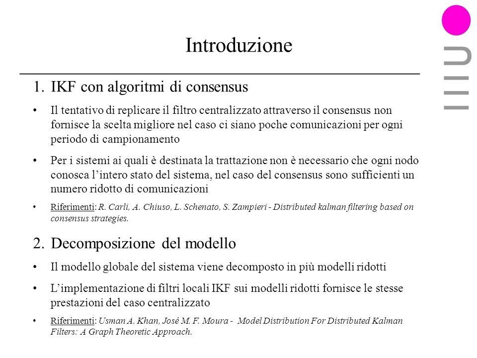 Introduzione IKF con algoritmi di consensus Decomposizione del modello