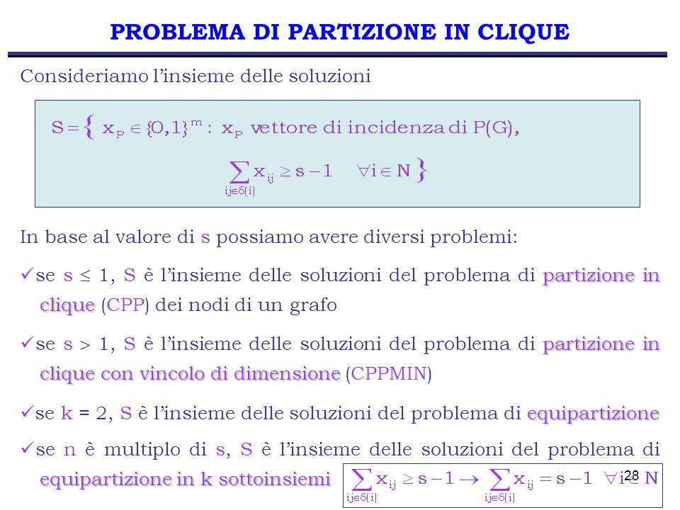 PROBLEMA DI PARTIZIONE IN CLIQUE