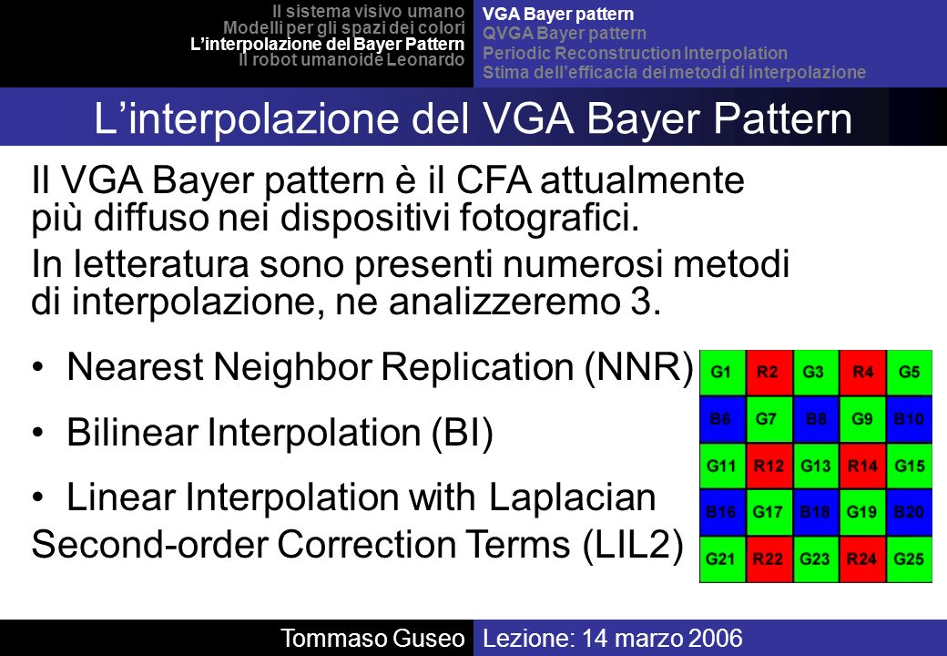 L'interpolazione del VGA Bayer Pattern