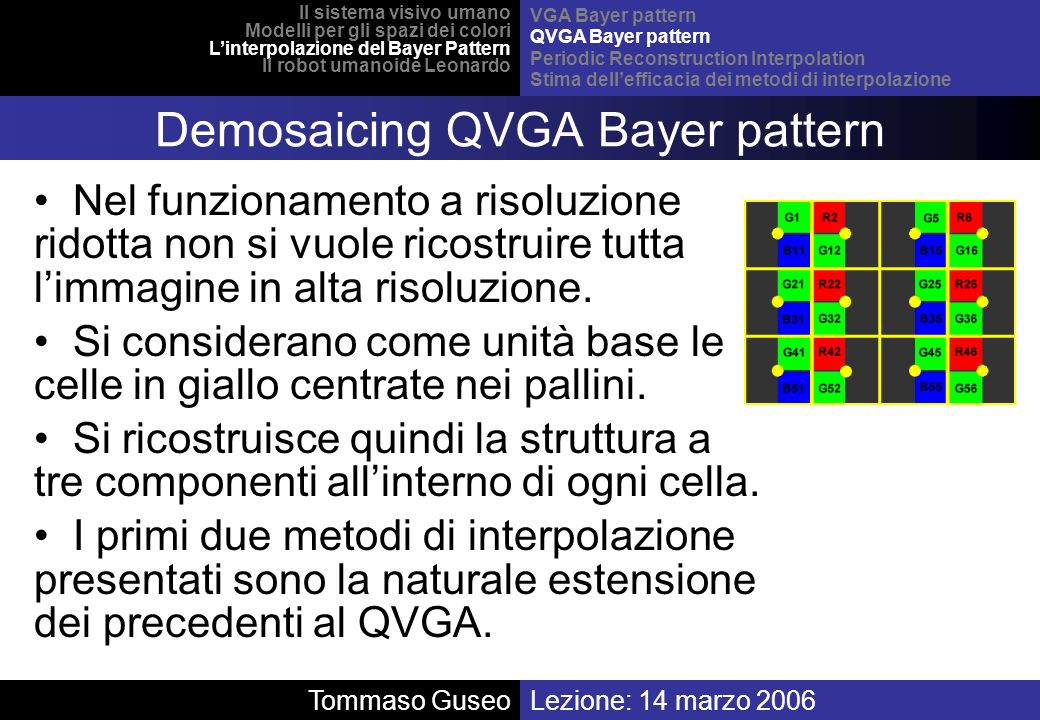 Demosaicing QVGA Bayer pattern
