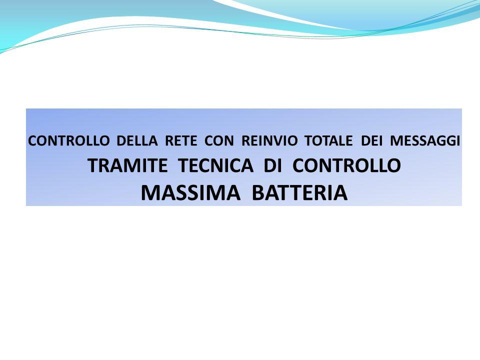 CONTROLLO DELLA RETE CON REINVIO TOTALE DEI MESSAGGI TRAMITE TECNICA DI CONTROLLO MASSIMA BATTERIA