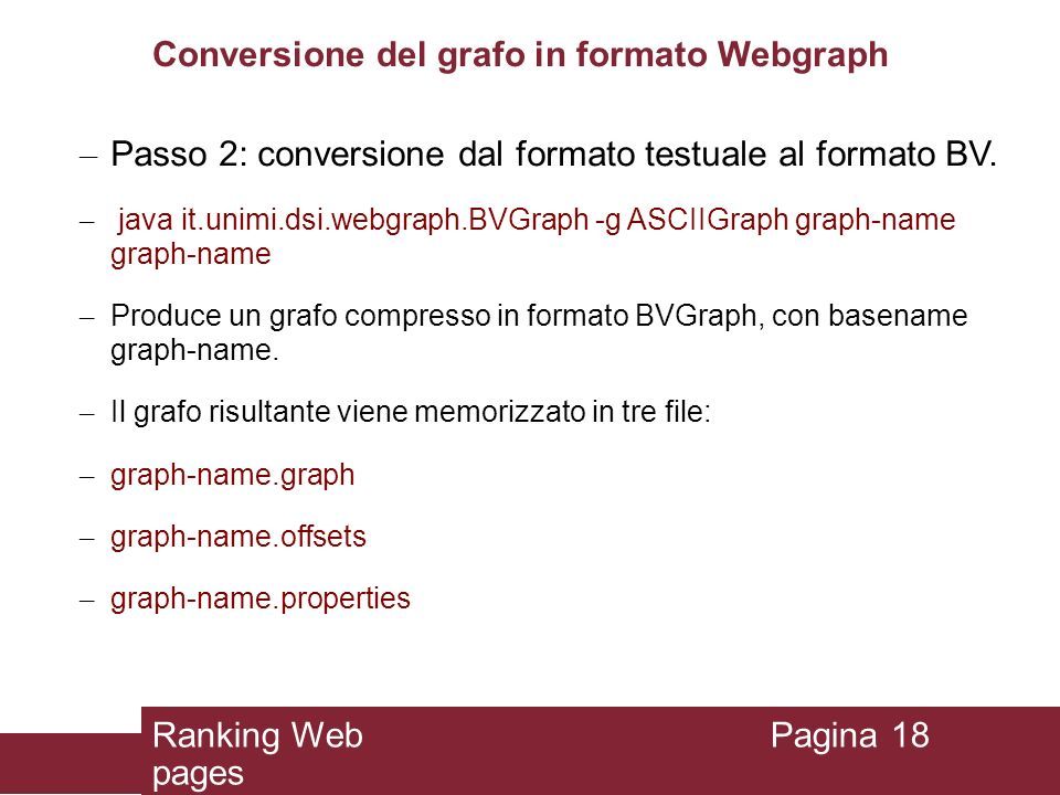 Conversione del grafo in formato Webgraph