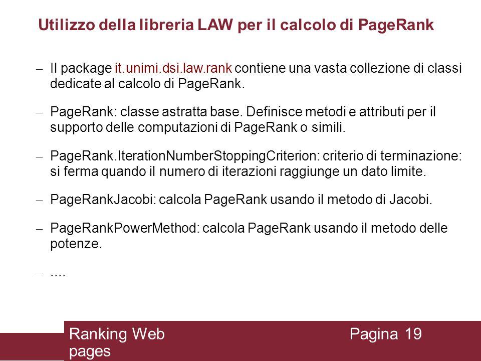 Utilizzo della libreria LAW per il calcolo di PageRank