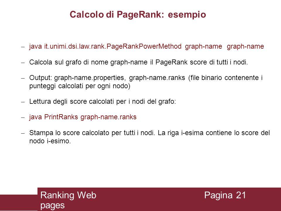 Calcolo di PageRank: esempio