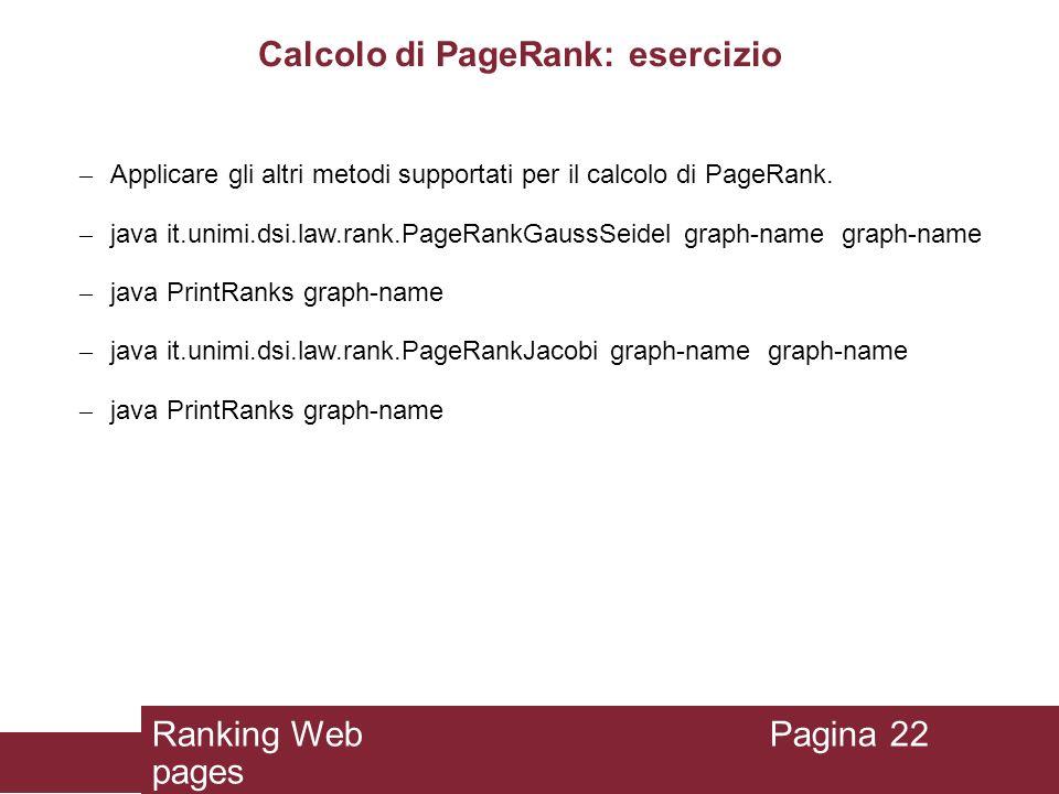 Calcolo di PageRank: esercizio