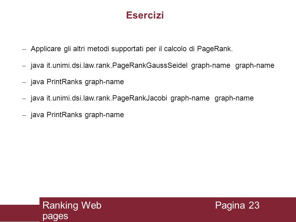 Esercizi Ranking Web pages