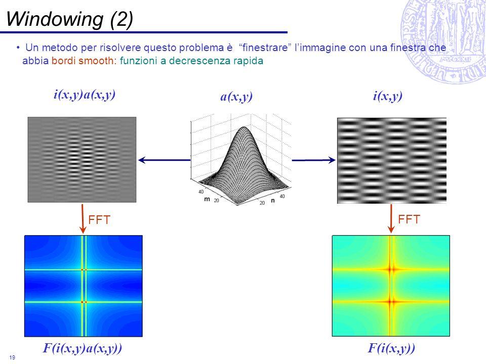 Windowing (2) i(x,y)a(x,y) a(x,y) i(x,y) F(i(x,y)a(x,y)) F(i(x,y)) FFT