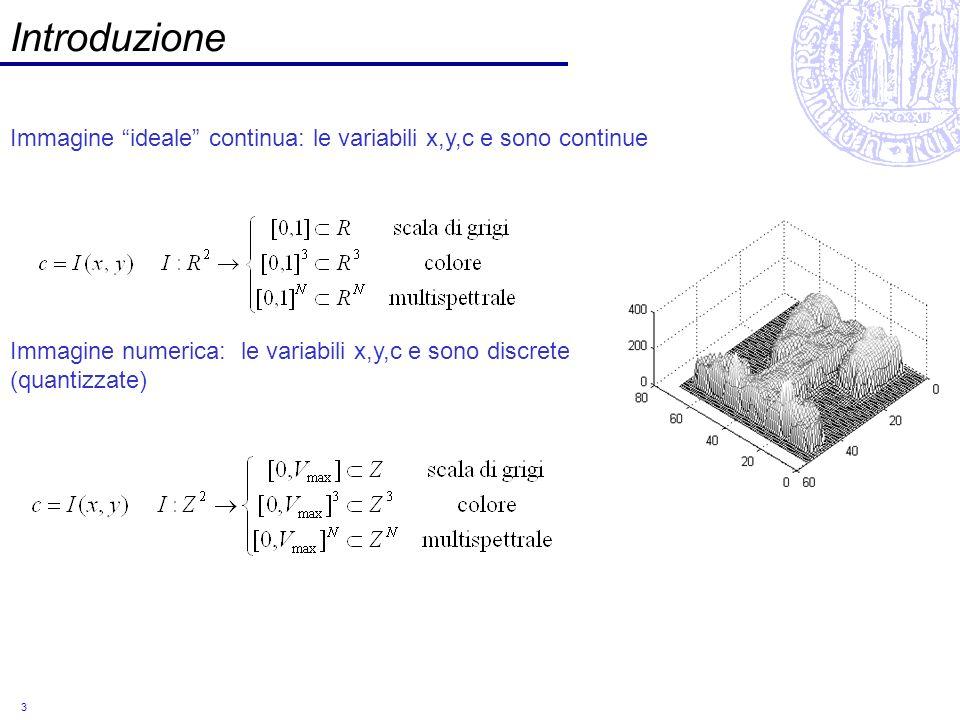 Introduzione Immagine ideale continua: le variabili x,y,c e sono continue.