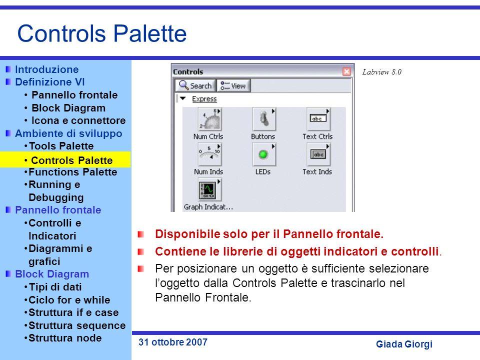 Controls Palette Disponibile solo per il Pannello frontale.