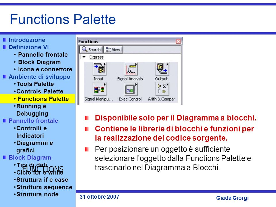 Functions Palette Disponibile solo per il Diagramma a blocchi.