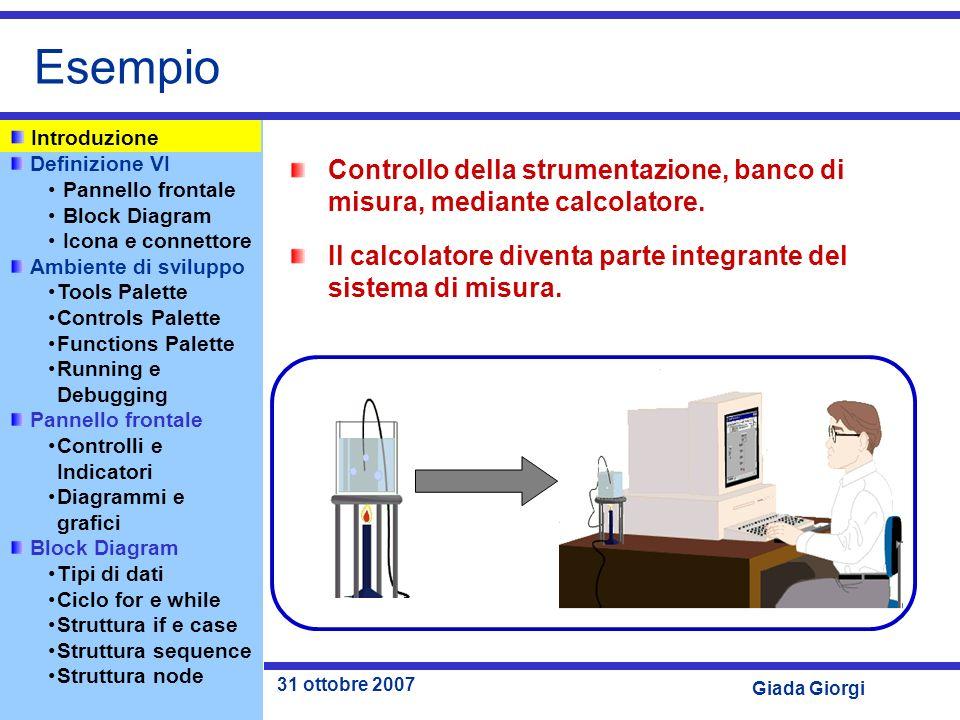 Esempio Introduzione. Controllo della strumentazione, banco di misura, mediante calcolatore.