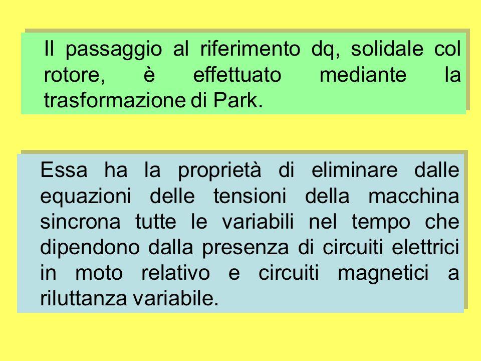 Il passaggio al riferimento dq, solidale col rotore, è effettuato mediante la trasformazione di Park.
