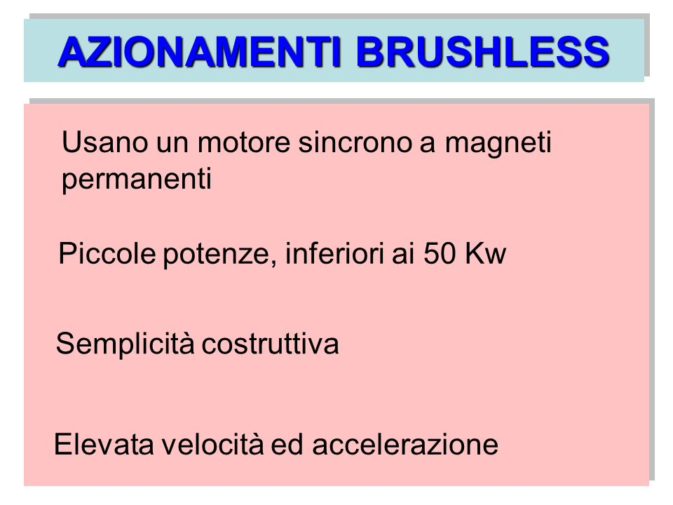 AZIONAMENTI BRUSHLESS