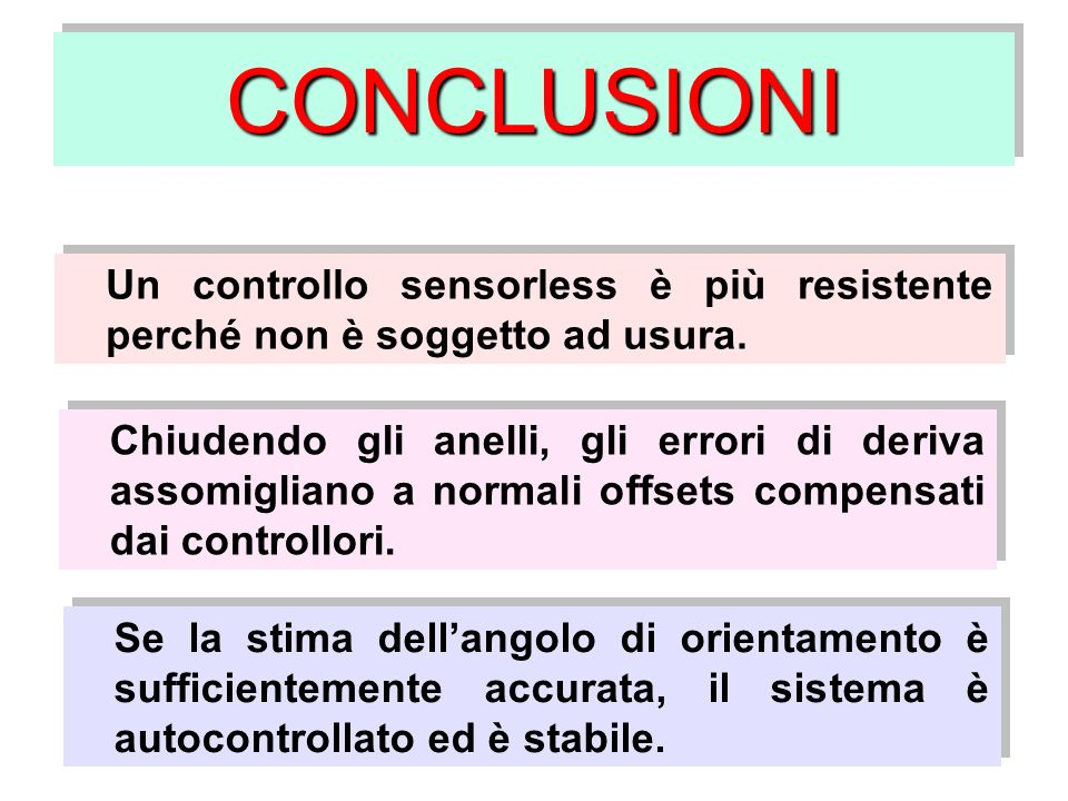 CONCLUSIONI Un controllo sensorless è più resistente perché non è soggetto ad usura.