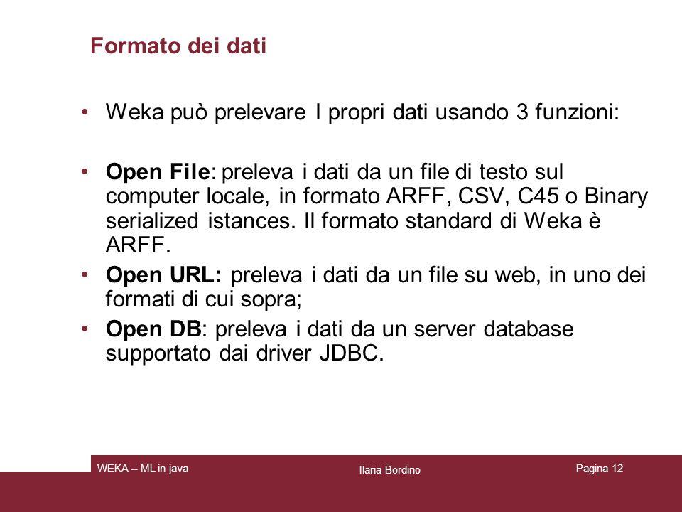 Weka può prelevare I propri dati usando 3 funzioni: