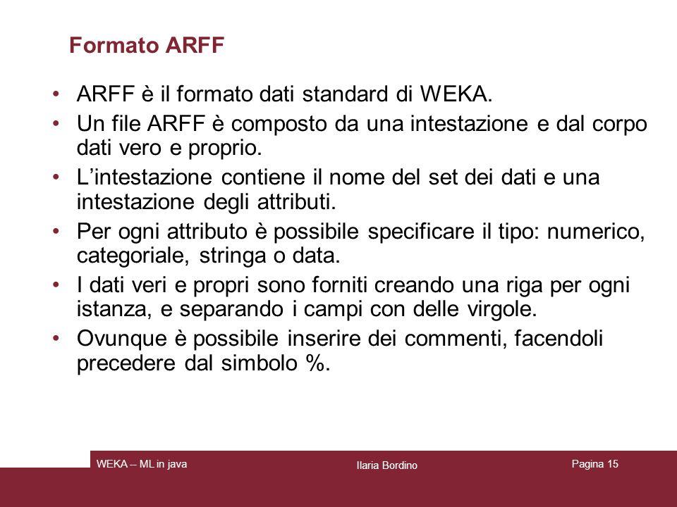 ARFF è il formato dati standard di WEKA.
