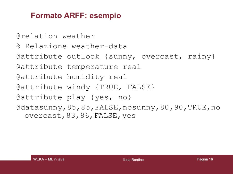 % Relazione weather-data @attribute outlook {sunny, overcast, rainy}