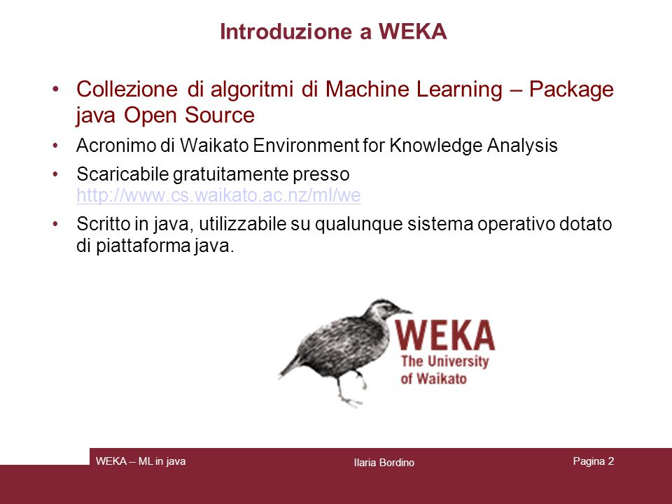 Collezione di algoritmi di Machine Learning – Package java Open Source