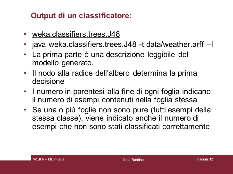 Output di un classificatore: