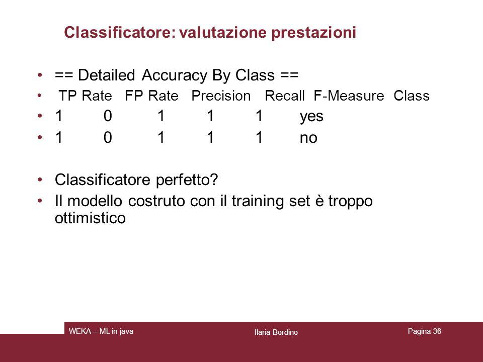 Classificatore: valutazione prestazioni