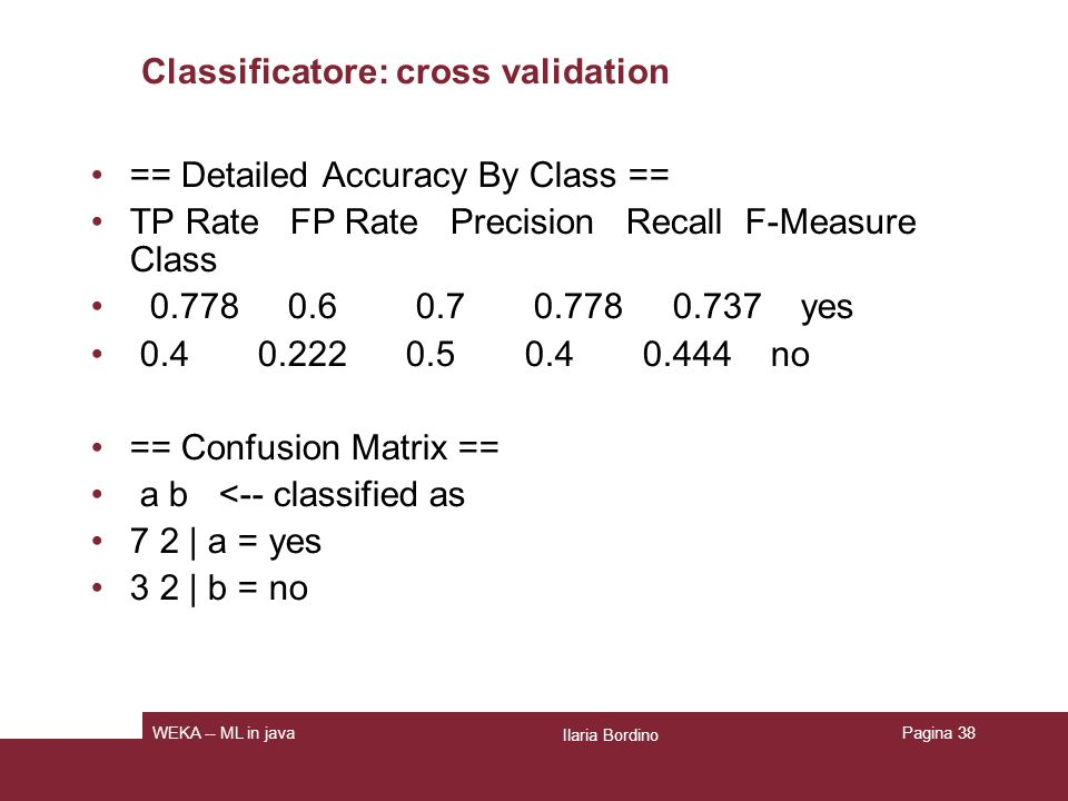 Classificatore: cross validation