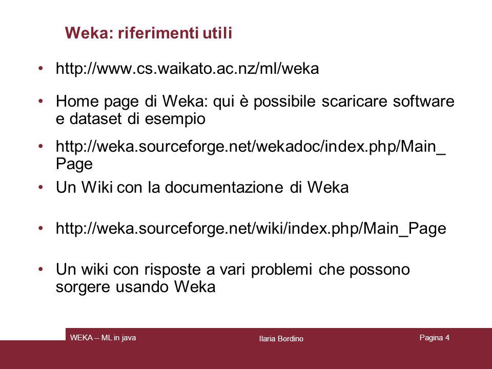 Weka: riferimenti utili