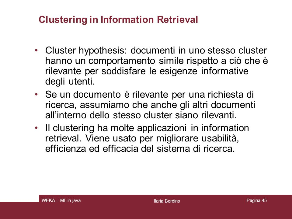 Clustering in Information Retrieval