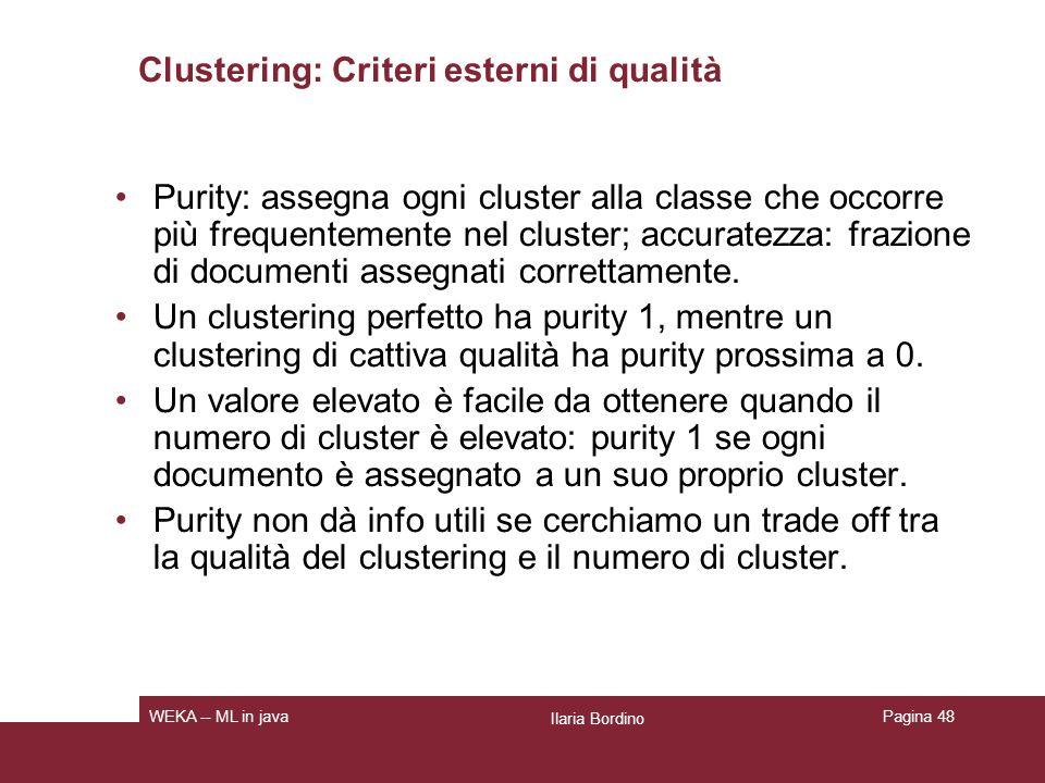 Clustering: Criteri esterni di qualità