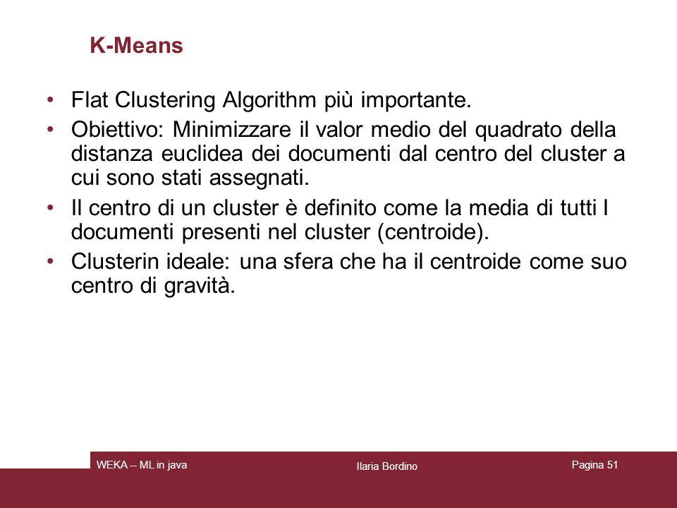 Flat Clustering Algorithm più importante.
