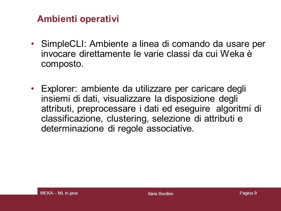 Ambienti operativi SimpleCLI: Ambiente a linea di comando da usare per invocare direttamente le varie classi da cui Weka è composto.