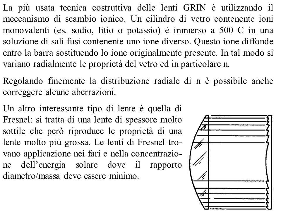 La più usata tecnica costruttiva delle lenti GRIN è utilizzando il meccanismo di scambio ionico. Un cilindro di vetro contenente ioni monovalenti (es. sodio, litio o potassio) è immerso a 500 C in una soluzione di sali fusi contenente uno ione diverso. Questo ione diffonde entro la barra sostituendo lo ione originalmente presente. In tal modo si variano radialmente le proprietà del vetro ed in particolare n.