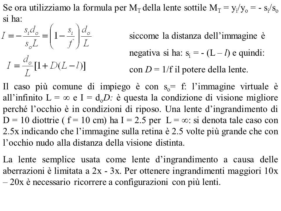 Se ora utilizziamo la formula per MT della lente sottile MT = yi/yo = - si/so si ha: