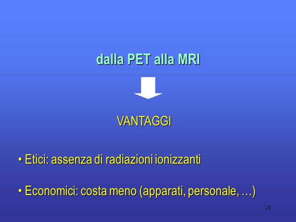 dalla PET alla MRI VANTAGGI Etici: assenza di radiazioni ionizzanti