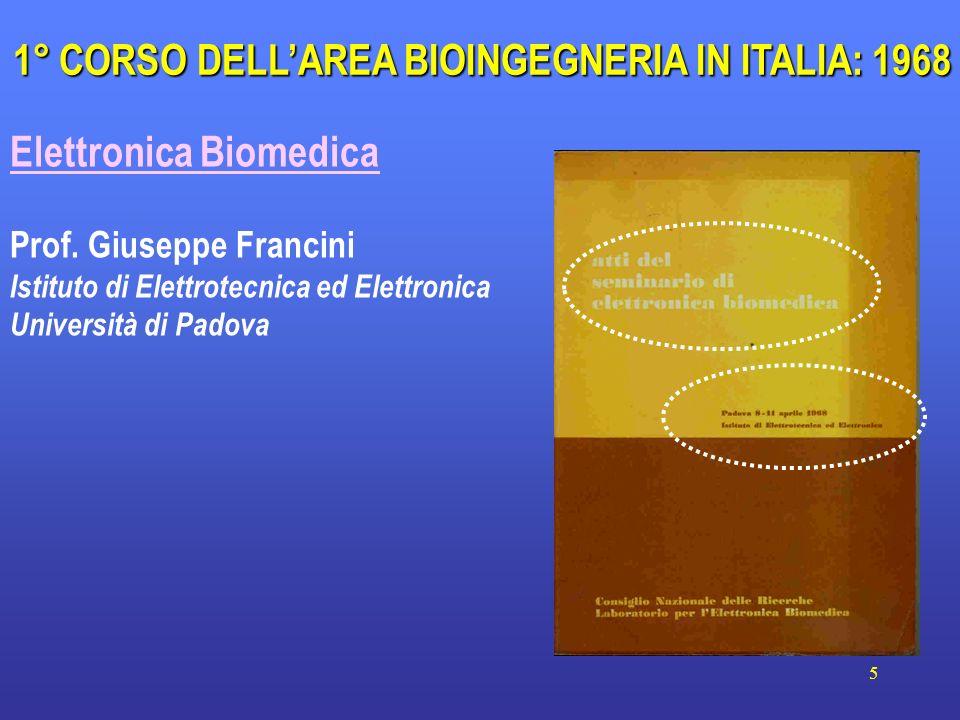 1° CORSO DELL'AREA BIOINGEGNERIA IN ITALIA: 1968
