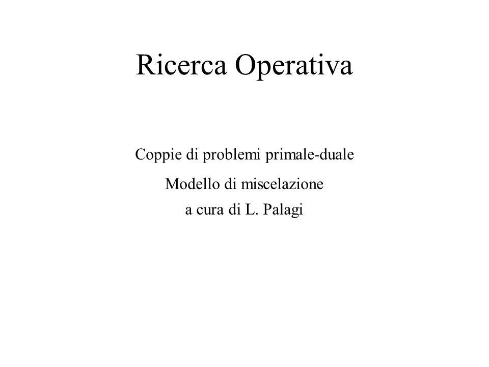 Ricerca Operativa Coppie di problemi primale-duale