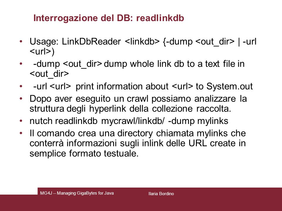 Interrogazione del DB: readlinkdb