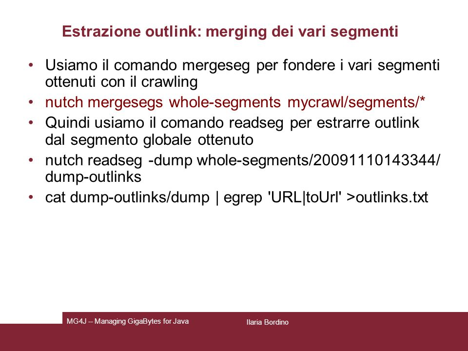 Estrazione outlink: merging dei vari segmenti
