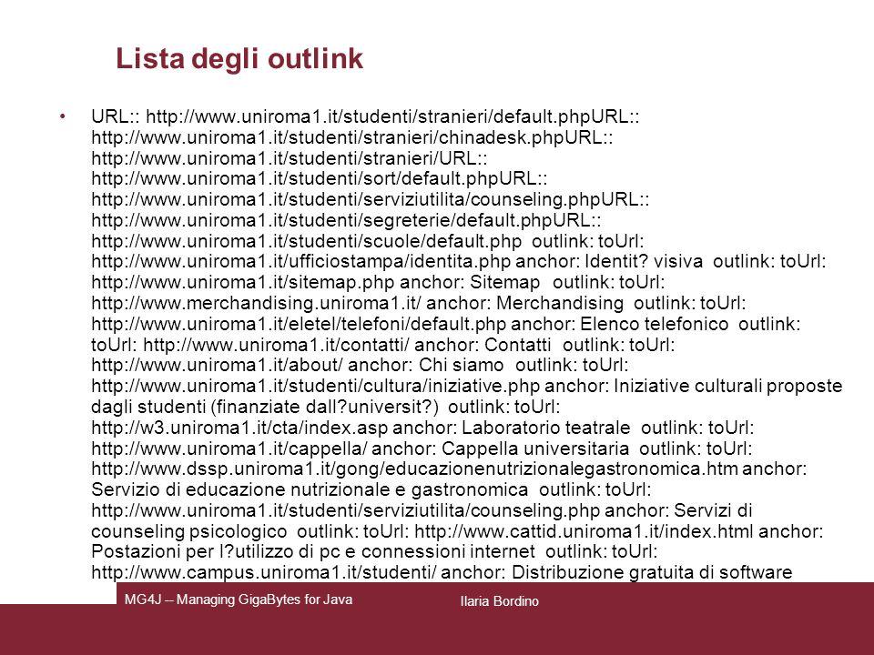 Lista degli outlink