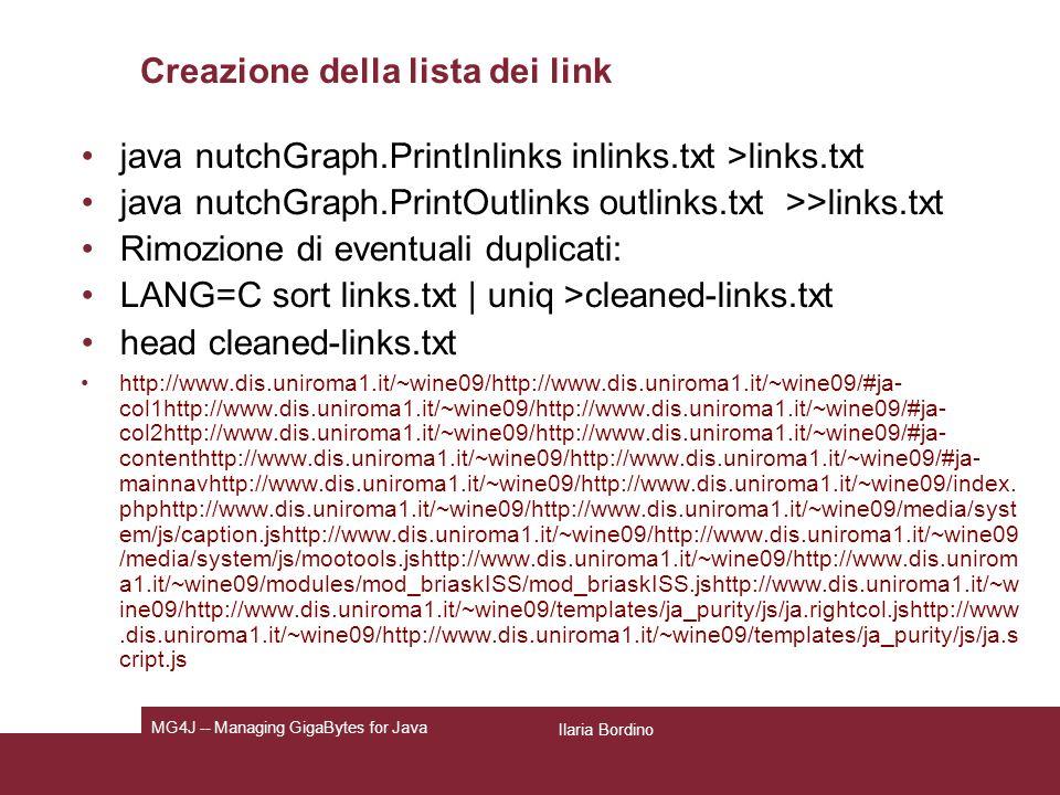 Creazione della lista dei link