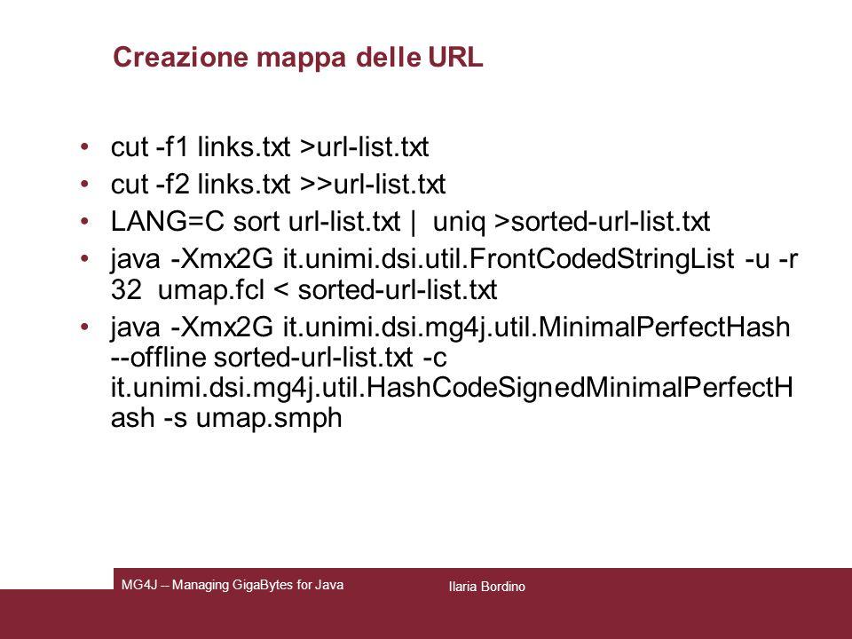 Creazione mappa delle URL